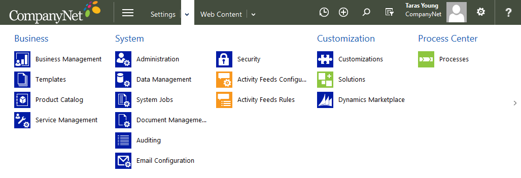 Picture of a customised Dynamics CRM 2015 instance