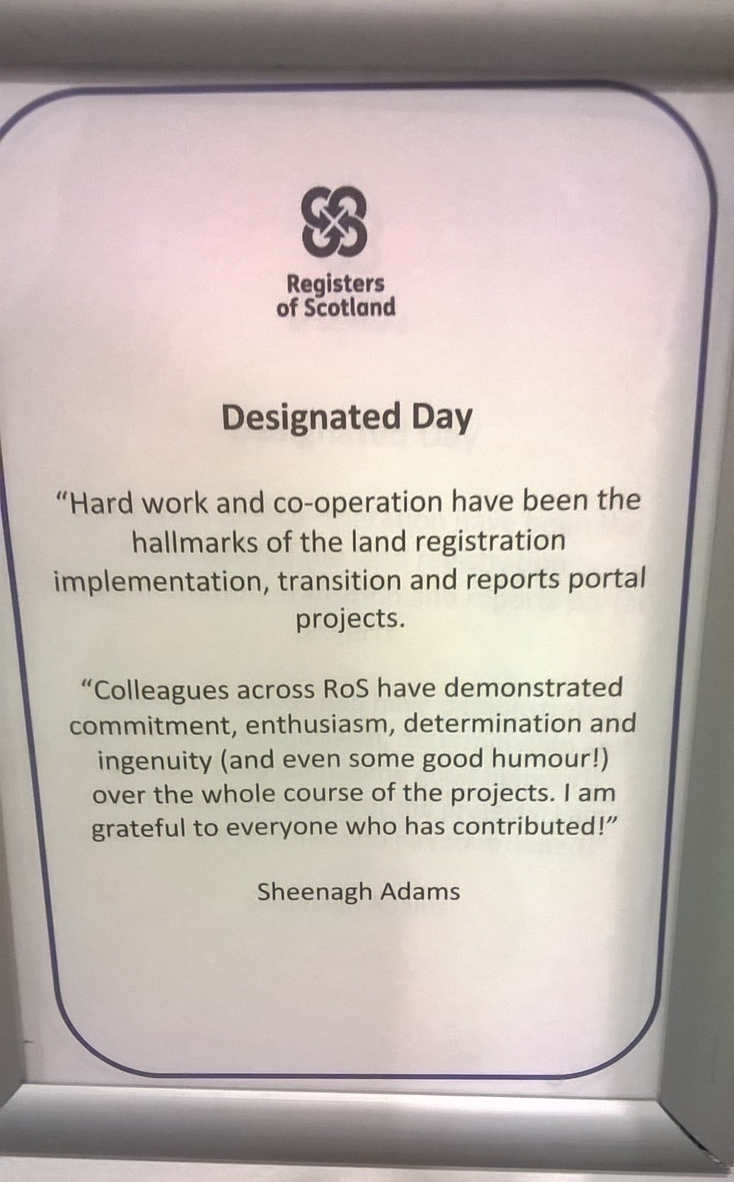 Registers of Scotland - hard work and ingenuity