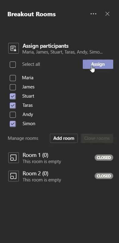 Assigning users to breakout rooms in Microsoft Teams